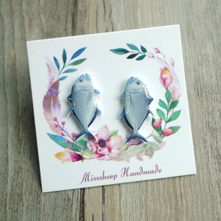 Misssheep-U74 - Fish caught - Handmade earrings (ear pin / transparent ear clip) (pair)