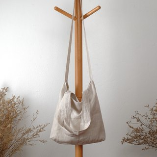 Beige Tiny Striped Linen Tote Bag