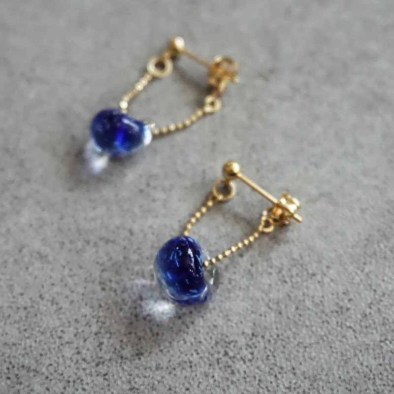 Classic Blue Glass Beaded Dangling Earrings