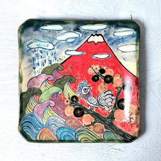 """Red Fuji and plum and birds and sea of ​​spring"" color drawing square plate"
