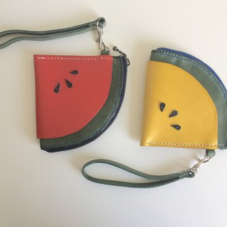Graduation gift withered watermelon leather wallet _ leather hand sewing Handmade Watermelon Leather Case