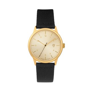 Chpo Brand Swedish Brand - Rawiya Gold Dial - Black Canvas X Honey Brown Leather Watch