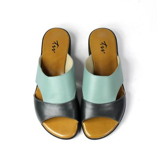 Green and blue color matching leather slippers