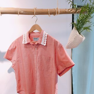 Pink plain white lace collar remake shirt