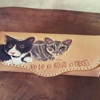 Exclusive custom two cat color pencil case / glasses box (custom lover, birthday gift)