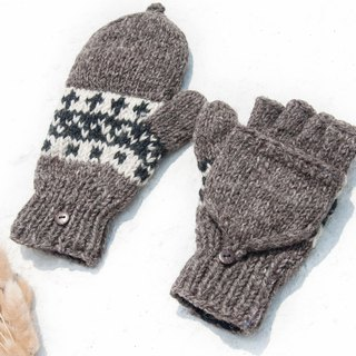 Hand-knitted pure wool knit gloves / detachable gloves / inner bristled gloves / warm gloves - Nordic coffee