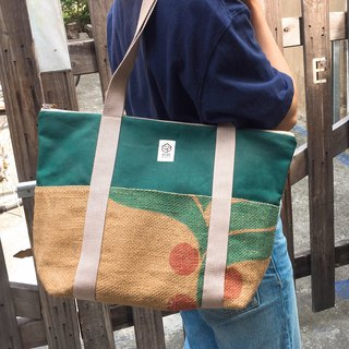 Burlap stitching color large tote