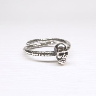 Ermao Silver [Xiaoyan skull head adjustable ring sterling silver ring]