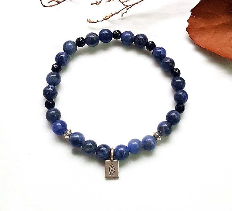 Lucky Fish-Diamond Faceted Black Agate Blue Stone 925 Sterling Silver Bracelet Customized Neutral