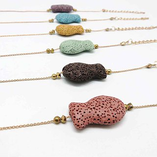Fish Lava Stone Differ Bracelet Gold plated Copper Chain with Extend Chain