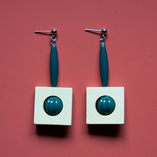 Space Age - White Square with Teal Tube beads Earrings
