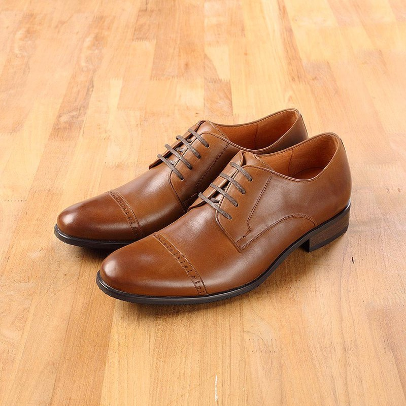 Vanger Simple Classic Striped Carving Derby Shoes Va188 Brown Taiwanese