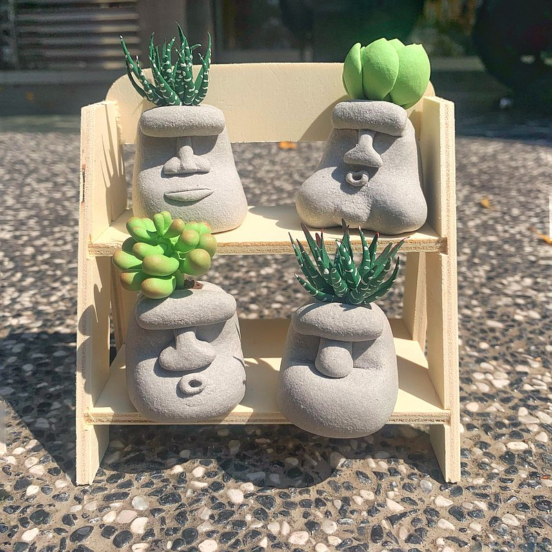 Moai long fleshy clay works succulents simulation succulents