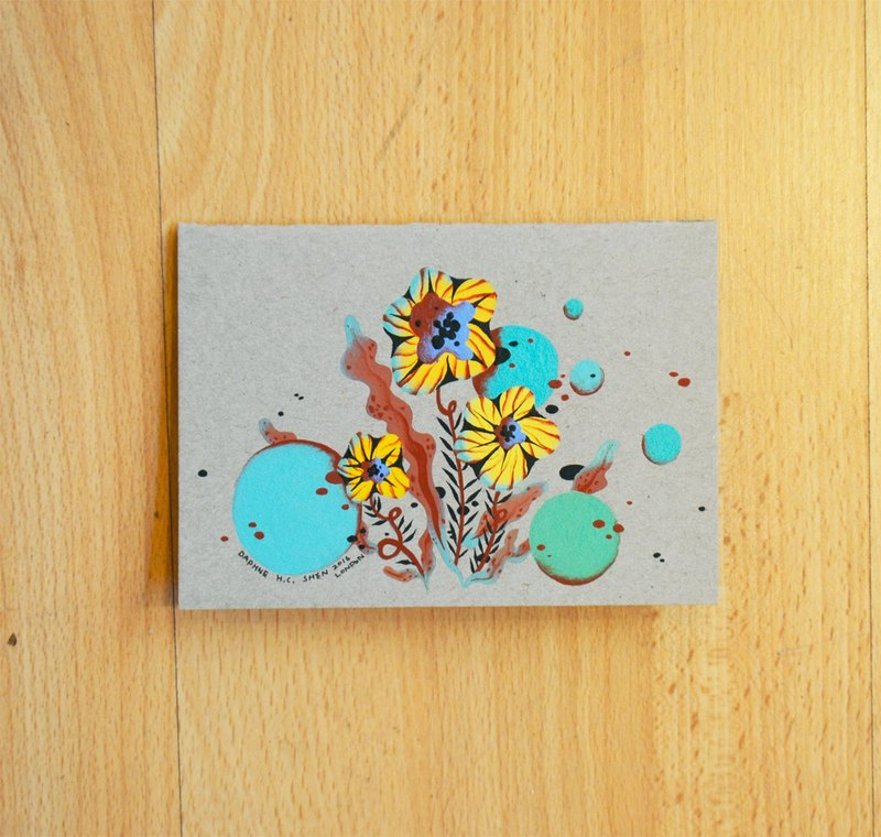 Custom-made painting green flowers cards ethnic style hand-painted works