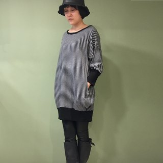[Dress] Sports Sleeve dress _ blue gray stripes