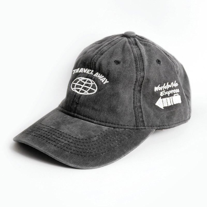洗水復古帽子 Travel Away 丹寧黑 Worldwide Express帽
