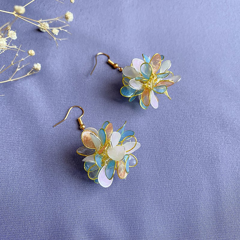 blue orange hydrangea earring【wedding】