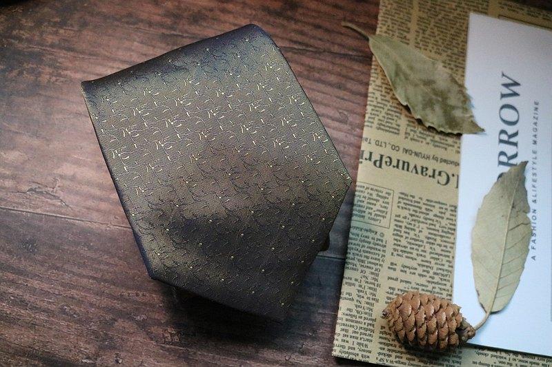 卡其色荊棘花紋真絲領帶寬度支持定制