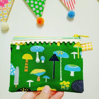 Mushroom mushroom hand made coin purse ticket card bag small bag