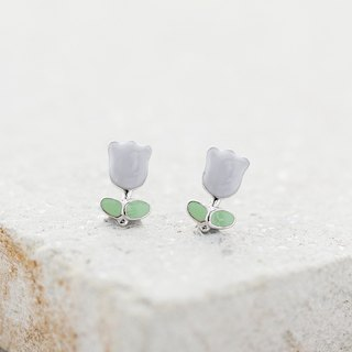 Tulip Earrings in 925 Sterling Silver, White Gold plating - Purple