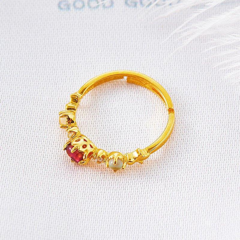 925銀天然玫瑰碧璽天然彩寶戒指(含開光)招桃花、招貴人、招人緣