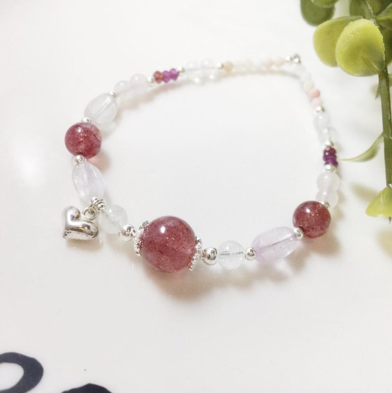 MH sterling silver natural stone love series _ lover journey _ strawberry crystal