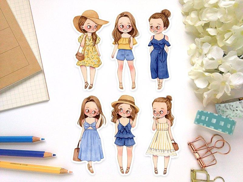 水彩夏日女孩-褐髮 手繪插畫 手帳貼紙包 防水貼紙 可愛女孩貼紙