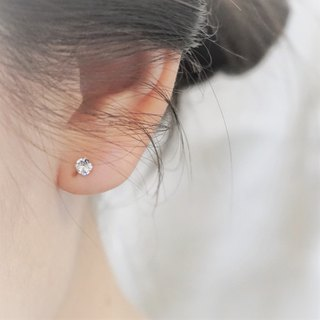 << modo crystal ear pin - white >> 925 pure silver ear pin / pair