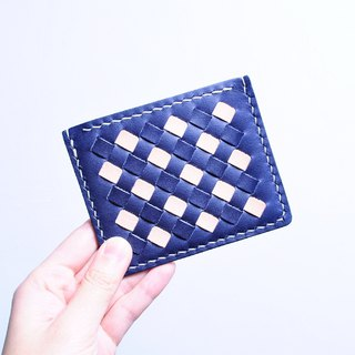 Woven leather cover - indigo x primary color leather material package free engraved name card holder Italian vegetable tanned
