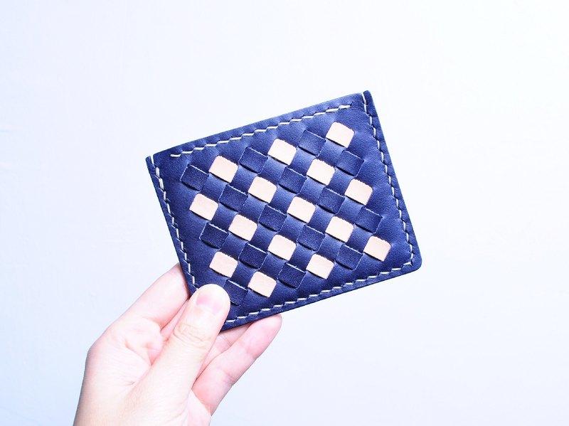 織皮咭套—紺藍 x 原色 皮革材料包 免費刻名 名片夾 意大利 植鞣