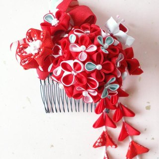"""New color"" knife's hair ornament Using old cloth [hydrangea motif · red / blue]"