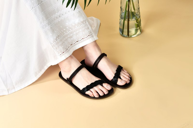[Bohemian] woven belt 2WAY sandals and slippers _ quiet night black