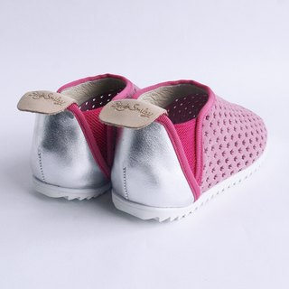 Beven Smiley. V series full leather children's shoes - tunnel section - soft pink -30 yards (slippers / lazy shoes)
