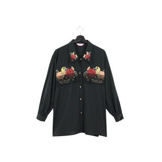 Back to Green:: Embroidered fruit // wearable for men and women // vintage shirts