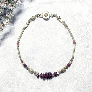 VIIART. Years of solar terms - summer heat. Garnet brass bracelet