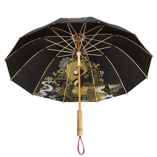 Bamboo|Monkey Year's Commemorative Handmade Bamboo Long Handle Umbrella, Red Dot IF Award