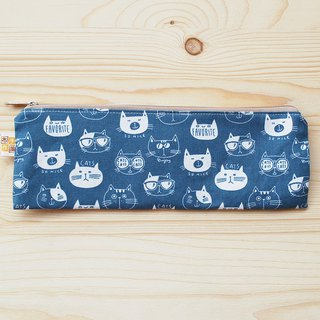 Cat head zipper wide chopsticks bag _ blue