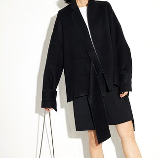 GAOGUO Black Wool Suit Coat