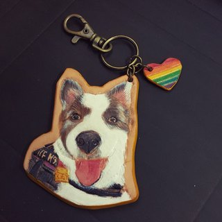 Exclusive custom pet bust cat pure leather leather key ring - (custom lover, birthday gift)