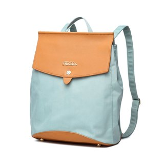 Backpack dual-use shoulder bag cross grain leather waterproof fabric Nova - mint blue