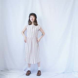 Ancient Art II Japanese II 60's Straight Striped Large Round Collar Vintage Dress II