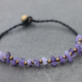 Stone Amethyst Woven Beaded Anklets Simple Minimal Raw Brass