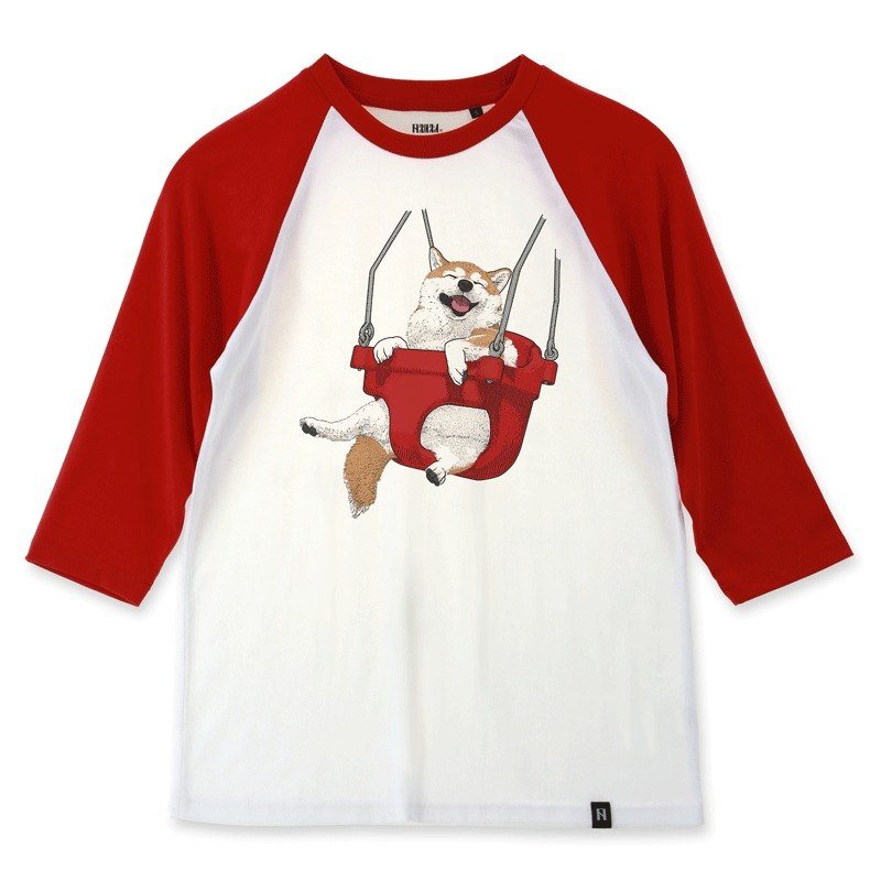 AMO®Original canned cotton adult 3/4 Raglan T-Shirt /AKE/The Shiba on the swing
