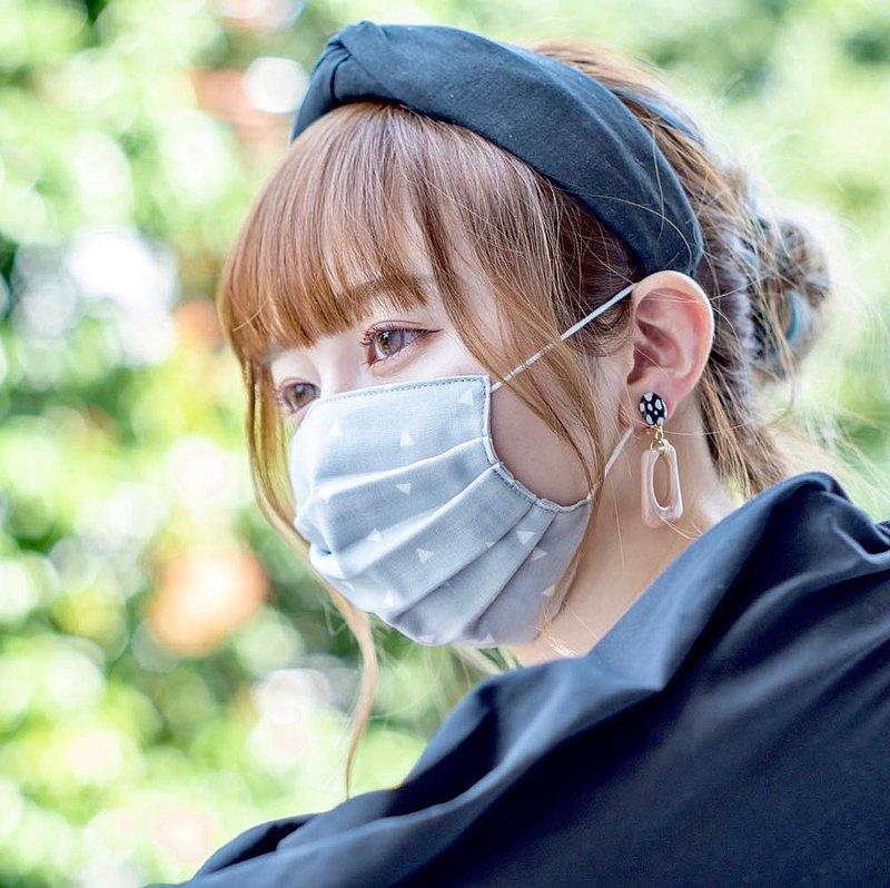 手工立體口罩 可洗滌 日本製純棉二重紗布 三角形 灰色 成人