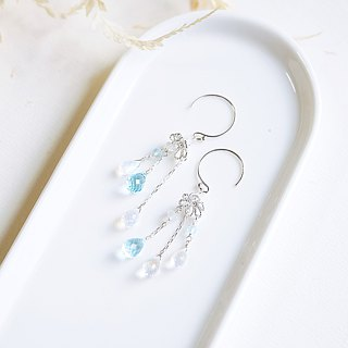 风 风 风 风 Natural Top Glass Moonstone Glass Earrings 925 Sterling Silver Xianqi Fresh