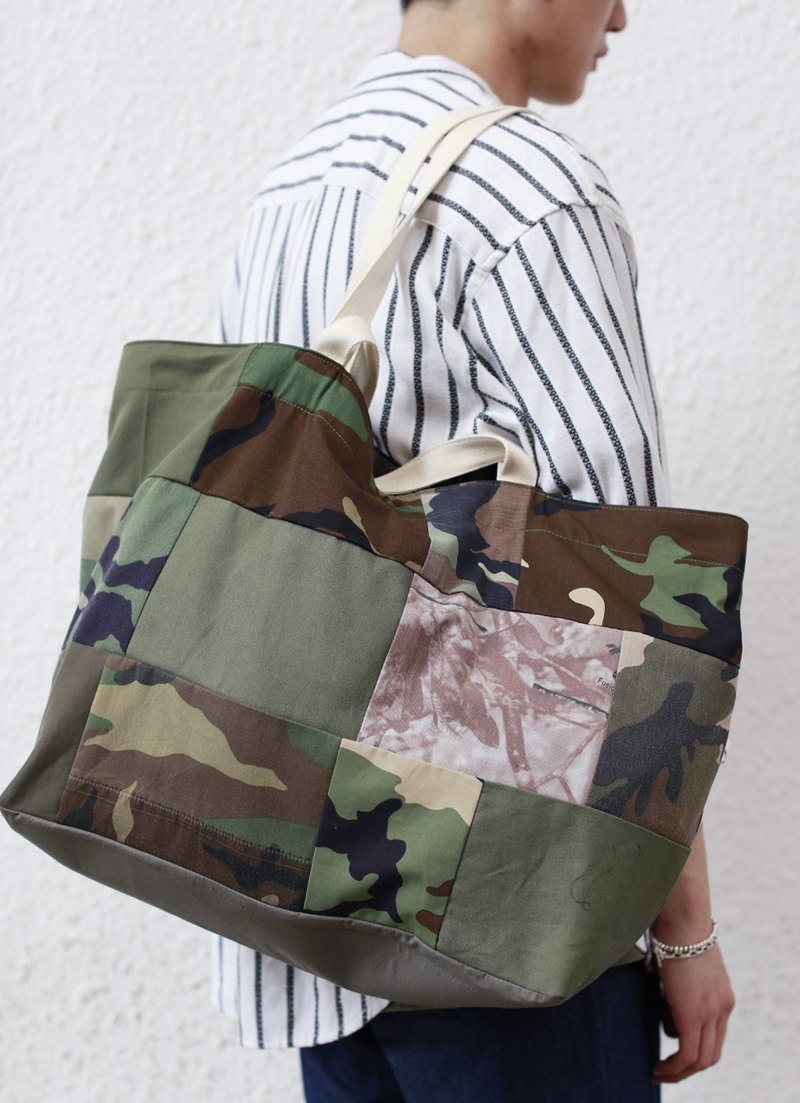 Patchwork Tote Bag  迷彩拼布大袋