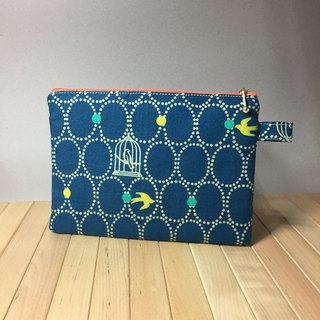 Adoubao-Universal bag storage bag zipper bag cosmetic bag - dark blue green & geometric circle & bird