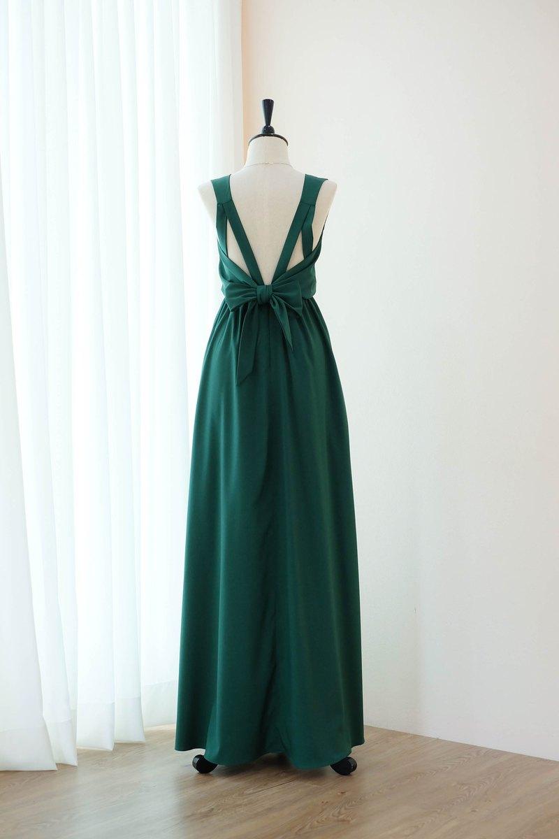 Forest Green Bridesmaid連衣裙露背派對雞尾酒禮服