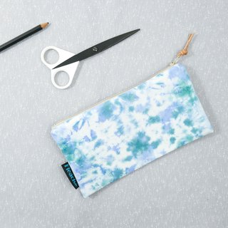 Tie-dye handmade Pencil Case Cosmetic bag Purse Zipper bag : Lake Waves :