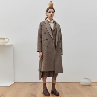 Brown wool herringbone double-breasted double-faced coat long retro student sister Morandi coat